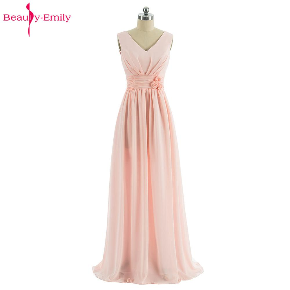 Beauty-Emily Long Chiffon Blush Pink   Bridesmaid     Dresses   2018 Vestido De Festa De Casamen Formal Party Prom girl   Dress