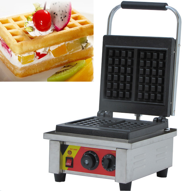 Stainless steel commercial  liege waffle iron making two slices waffle at one time