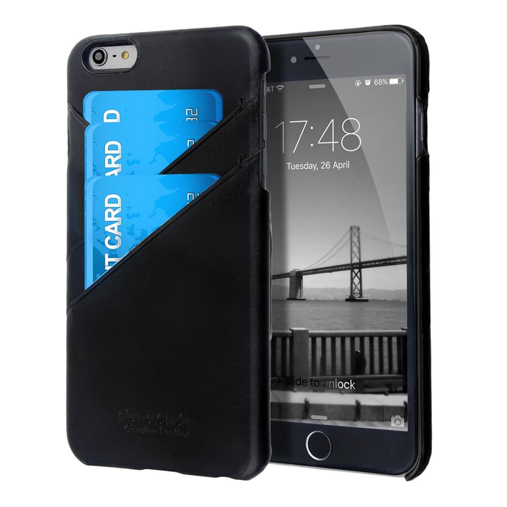imágenes para Pierre Cardin de lujo Para el iphone 6 Caso Retro de Cuero Genuino Volver cubierta Para el iphone 6/6 S 6 S Plus Casos 5.5 Con Ranura Para Tarjeta casos