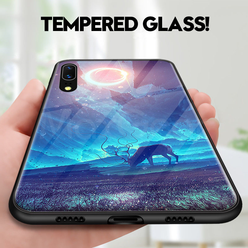 Tempered Glass Hard Back Phone Case For Huawei P20 Pro P20 Lite Full Shockproof Cover For Huawei P20 TPU Soft Edge Cases Shell