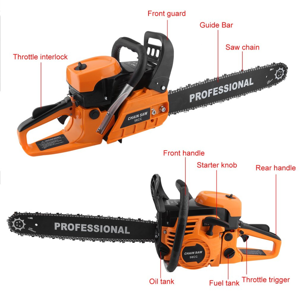 Professional Car Wood Cutter Chain Saw Heavy Duty Gasoline Chainsaw 2 Stroke 58CC Gas Chain Saw 3000rpm-Max.10000 rpm EU Plug wood cutter chain saw heavy duty gasoline chainsaw 2 stroke 58cc gas chain saw 3000rpm max 10000 rpm eu plug for garden tool