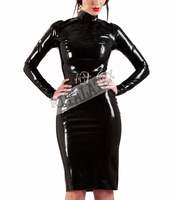 Sexy black rubber pencil dress with high neck, long sleeves Nature Latex Black Dress With Back Zip (No Belt)
