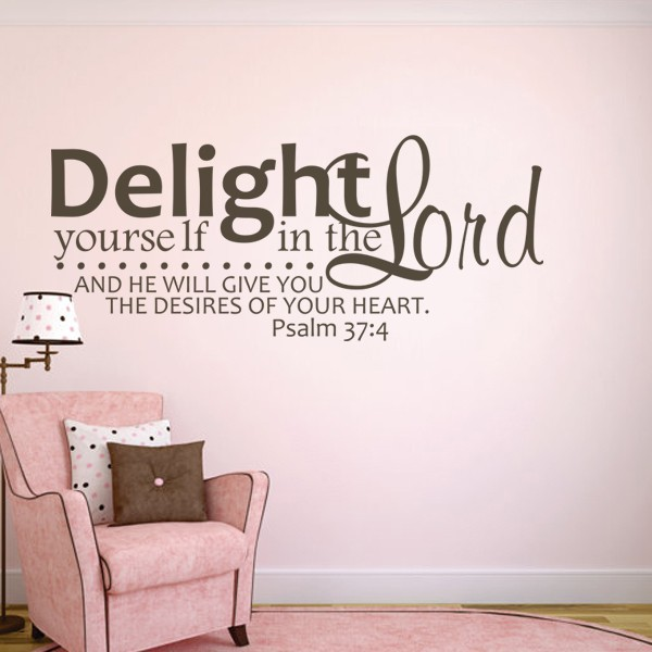 1PC DIY Removable Bible Verse Vinyl Delight Yourself in the Lord Wall Stickers