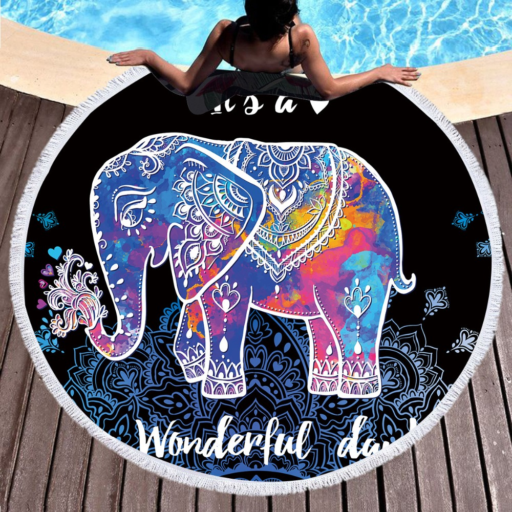 Aprons Bbq Round Beach Towel Microfiber Adult Large Bath Towel Child Elephant Print Tassel Cartoon Towel Toalla Exquisite Traditional Embroidery Art