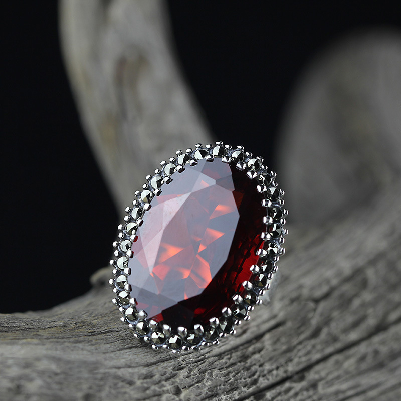 Real Pure Ring Silver 925 Vintage Womens Jewellery Big Red Garnet Natural Stone Elegant Fine Jewelry Bijoux FemmeReal Pure Ring Silver 925 Vintage Womens Jewellery Big Red Garnet Natural Stone Elegant Fine Jewelry Bijoux Femme