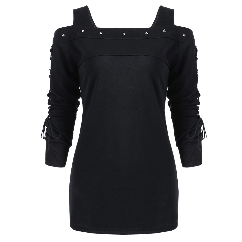 LANGSTAR Rivet Cold Shoulder Lace Up Long Sleeve T Shirt Top Women Autumn Black T Shirts Gothic Punk Pullover Womens Top Tee