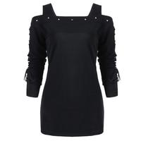 LANGSTAR Rivet Cold Shoulder Lace Up Long Sleeve T Shirt Top Women Autumn Black T Shirts Gothic Punk Pullover Womens Top Tee