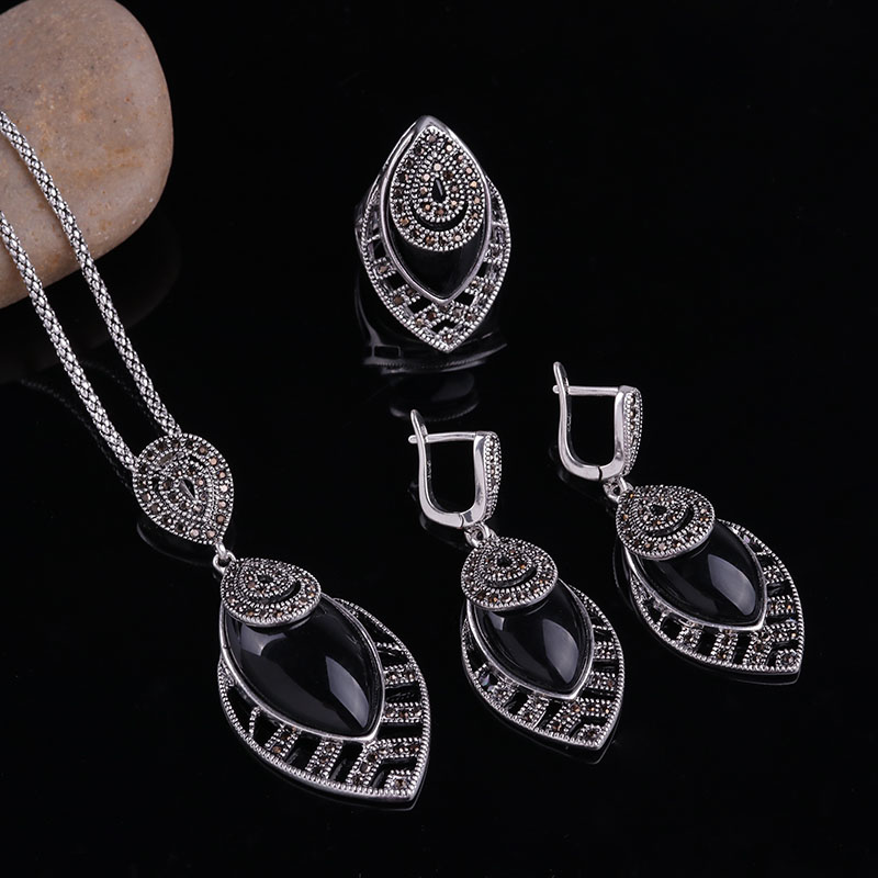 HTB1j69gbs vK1RkSmRyq6xwupXaO - Sellsets Unique Silver Color Antique Jewellery Set New Fashion Leaf Shape Vintage Jewelry Sets Women Accessories