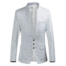 Suit jacket men's fashion printed blazer men's fashion stand collar three single-breasted slim suit jacket large size S-6XL stand collar single breasted blazer