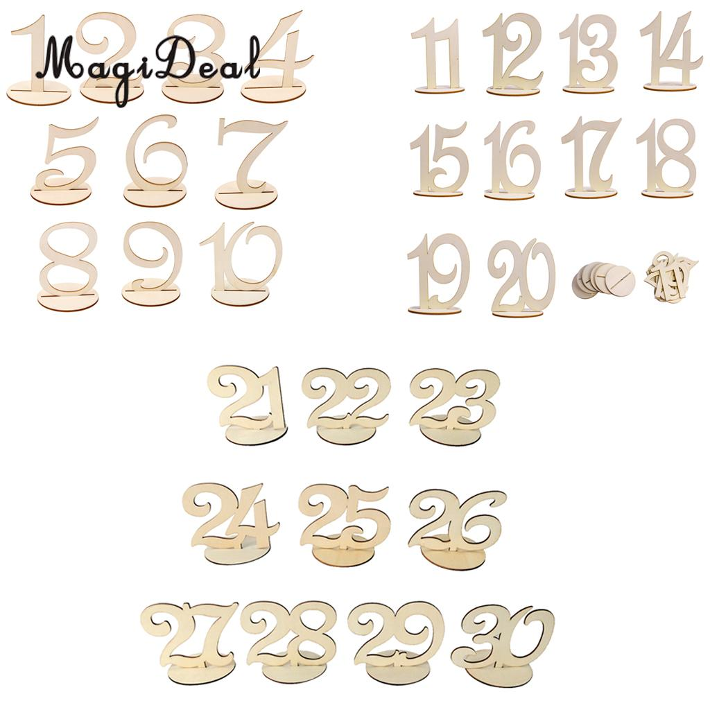 MagiDeal Delicate 21-30/ 30-40 Wood Round Table Number Freestanding for Wedding Birthday Baby Shower Christmas Party Table Decor