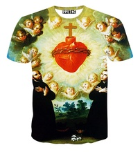 New Angel 3D Print T shirt Bible Cotton Tee Shirts Short Sleeve Heart Casual Homme Loose