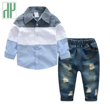 Toddler boys clothing T-shirt+Denim ripped jeans for kids gentleman suits long sleeve blouse children 2 3 4 6 7years