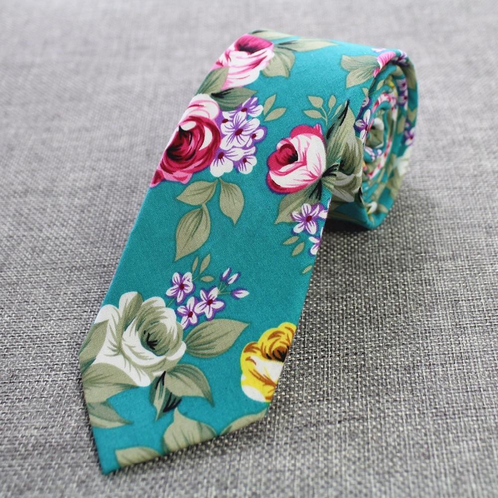 Ricnais Mens Cravatta in cotone Skinny 6 cm Cravatta floreale Moda - Accessori per vestiti - Fotografia 2