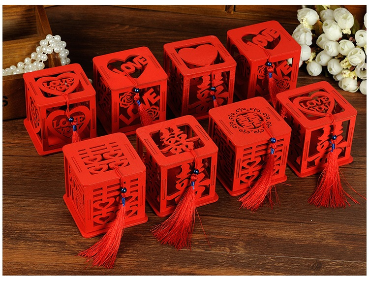 50pcs Wood Chinese Double Happiness Wedding Favor Boxes