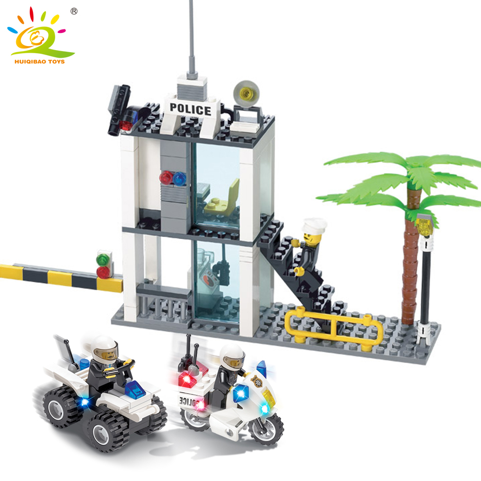 цена на 193pcs Police Motorcycle Police Station Building Blocks Set Compatible Legoed City Policeman Figures Bricks Toys for Children