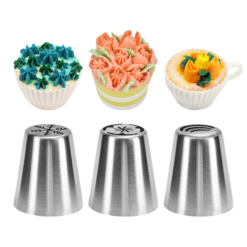 3Pc/Set Icing Piping Tips Christmas Tree Special Russian Leaf Nozzle Bakeware Cupcake Cake Decorating Pastry Baking Tools