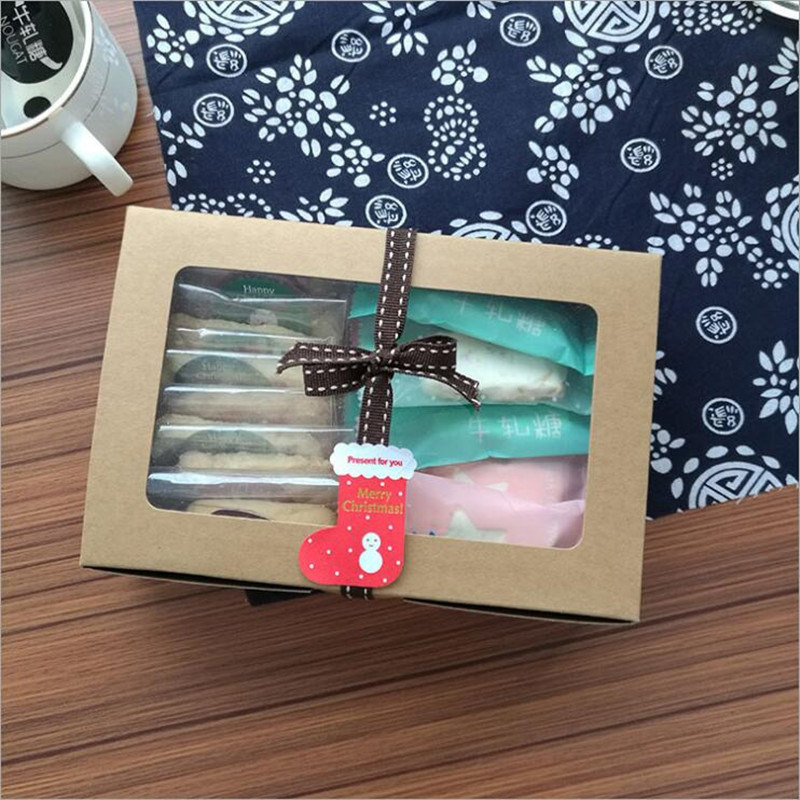 10pcs/lot Kraft Paper cake box with pvc window Cookies Biscuit cupcake packaging box kraft paper gift packaging box for cake image