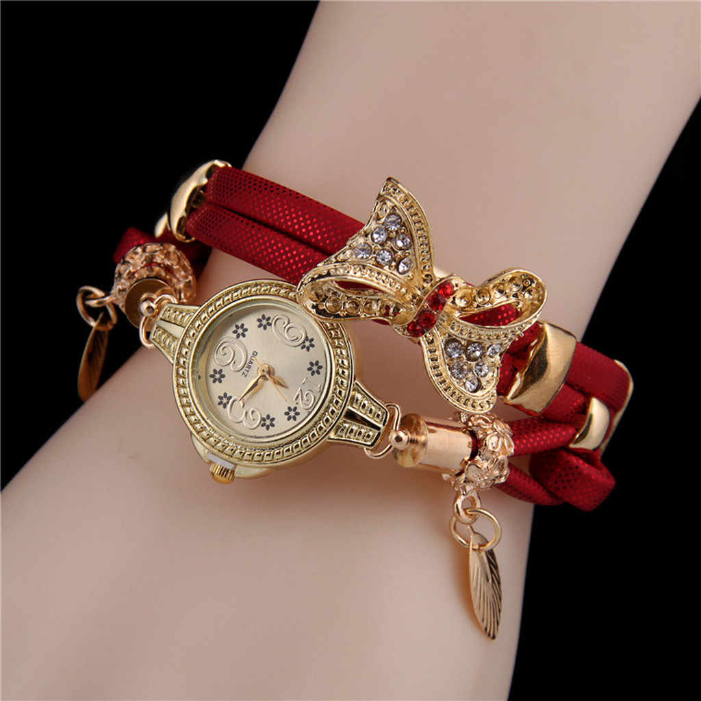 Luxury Watch Womern Famous Brand Butterfly Retro Rhinestone Bracelet Watches Women Lovely Wedding Quartz Watches Montre femme#10