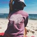 2016 otoño marfil ella t-shirt womens clothing tee impresión animal del elefante la camiseta suelta de manga larga