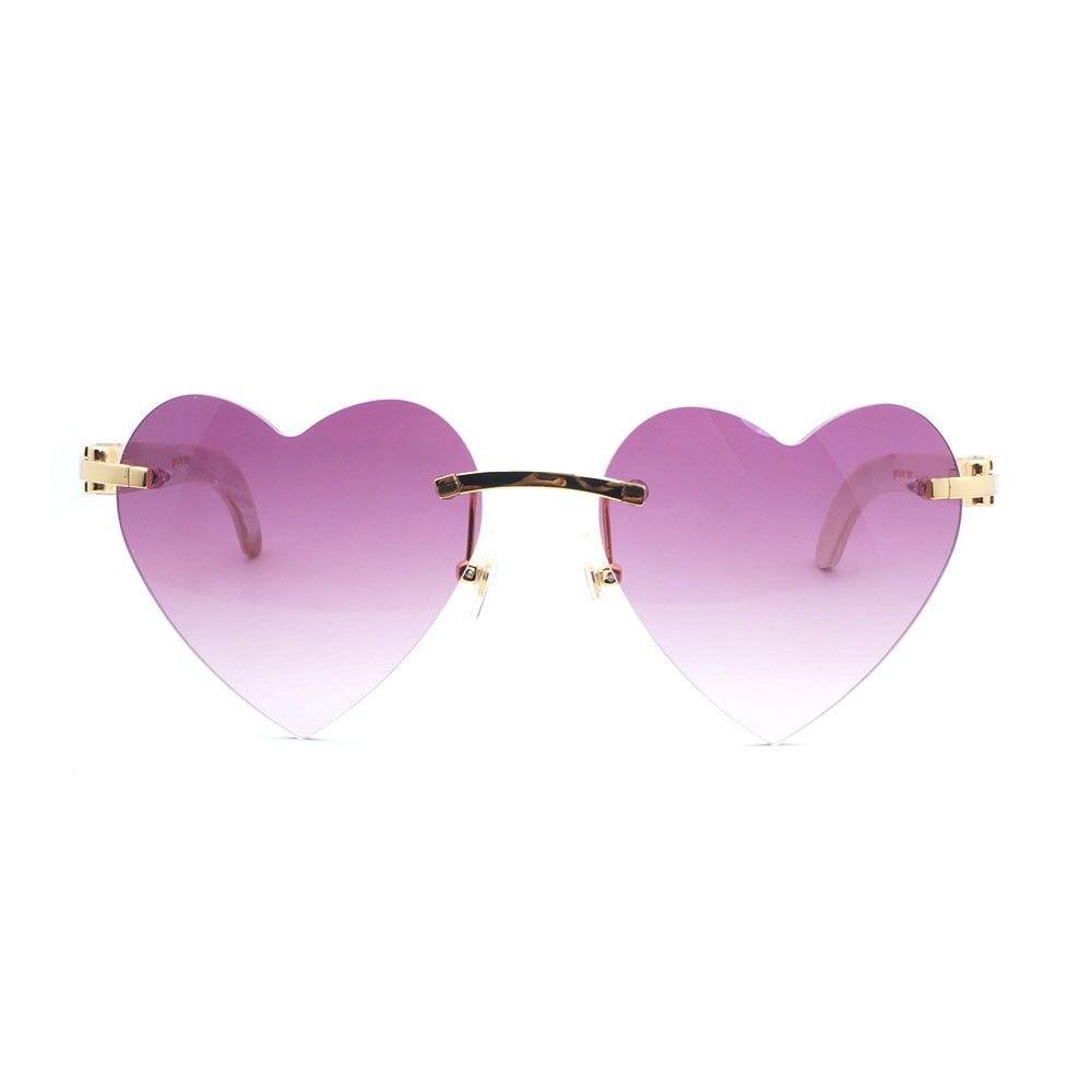 Heart Shape Rimless Carter Sunglasses Men Buffalo Horn Sunglasses for Women Luxury Eyewear for Party Club Glasses Frames Oculos