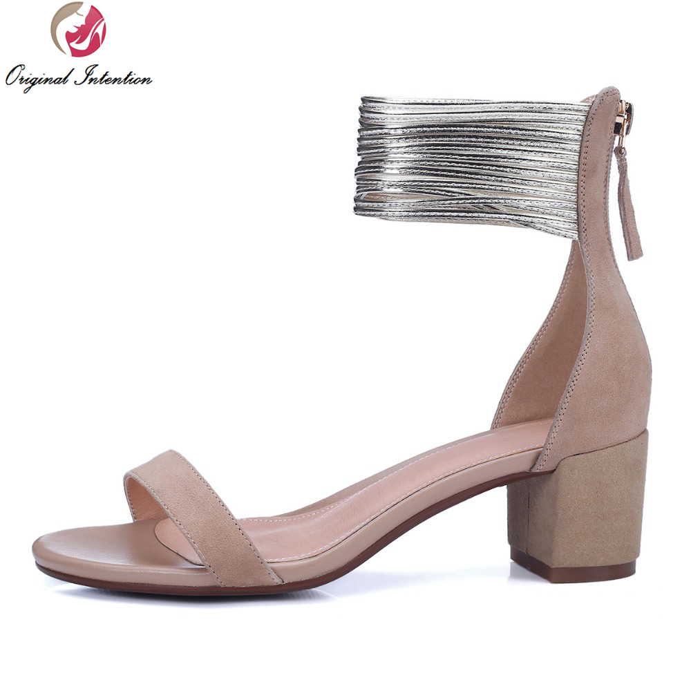 ФОТО Original Intention Elegant Women Sandals Peep Toe Square Sandals Nubuck Leather Black Beige Popular Shoes Woman US Size 4-8.5