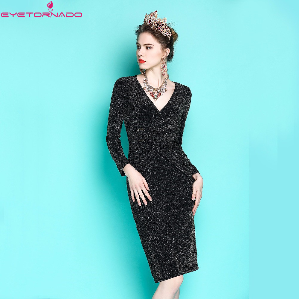 Women Sexy lurex bodycon pencil party dress long sleeve V neck casual work office sheath bandage boho dresses vestido E6049 sexy knitted long sleeve deep v neck pack hips women dress fashion solid mini sheath summer dresses new 2017 casual vestido s xl