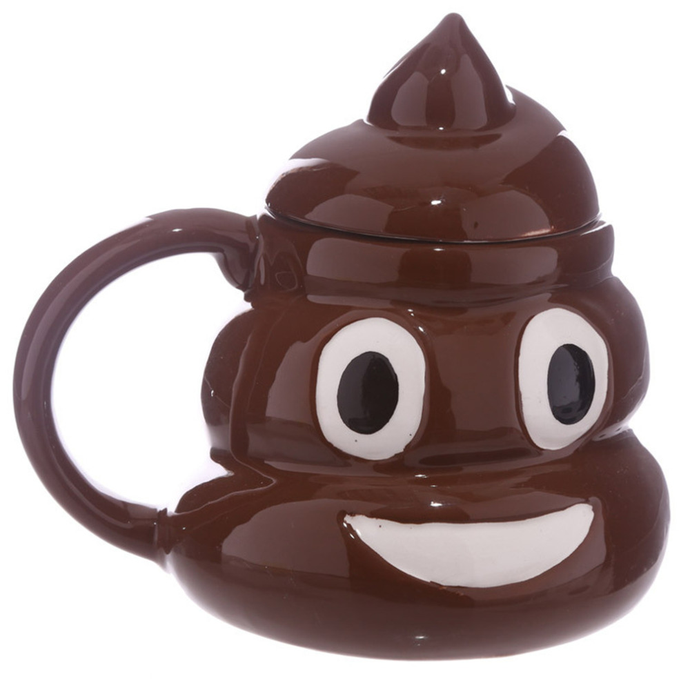 Funny Emoji Poo Shape Coffee Mug 3D Ceramic Coffee Cup Grinning Face Poop Drinking Cup with Swirly Lid Funny Gag Gift ZM1685901
