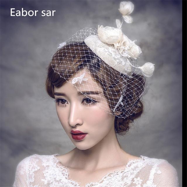 Hot 2017 joyería de la boda de champán vestidos sombrero del hilado de la red de boda nupcial accesorios de la joyería accesorios para el cabello