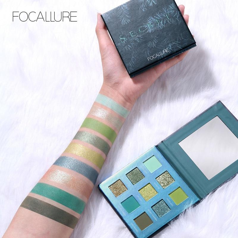 FOCALLURE 2019 Nova paleta de Sombra Verde fácil de usar de alta qualidade Shimmer da sombra de olho sombra em pó paleta de maquiagem Olhos