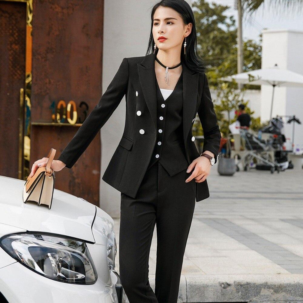 Vrouwen Suits Vrouwelijke Broek Past Office Lady Formele Zakelijke Set Uniform Ontwerpen Stijl Werkkleding Vest Blazer en Broek 3 delige Set-in Broekpak van Dames Kleding op  Groep 3