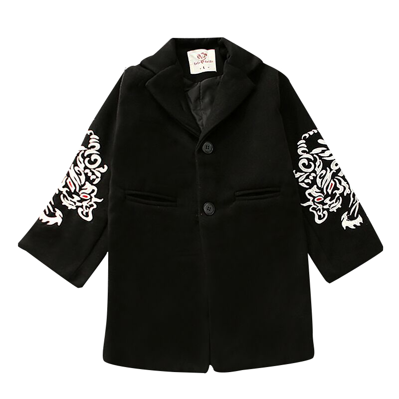 Spring Winter warm sleeve totem embroidery single-breasted turn-down collar boys wool coat kids outwear children jacket 80-135cm
