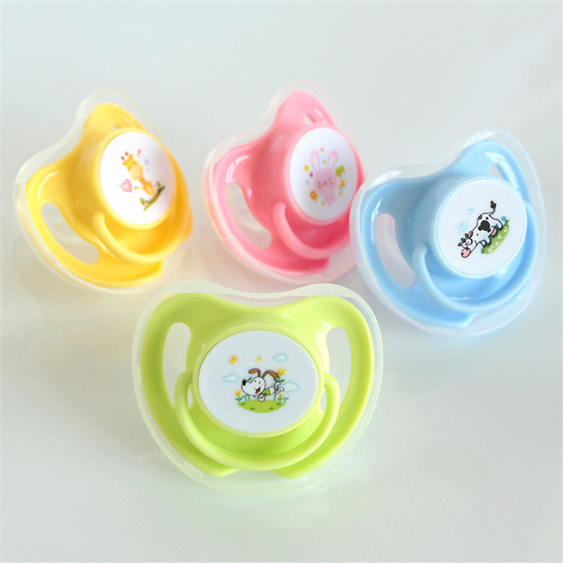 1PC Baby Cotton Animals Printing Pacifiers Safe Food Grade Silicone Cute Baby Round And Flat Nipples Pacifiers For 4 Colors