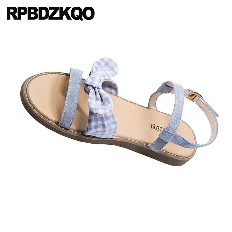 05b900603f51 ... Kawaii 2018 Korean Soft Blue Two Shoes Roman Designer Flat Cute Sandals  Gladiator Strap Bow Bowtie ...