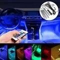 4 Шт. 5050 Авто LED RGB Пол Салона Декоративные Атмосфера газа Путь Деко Пол Свет Дистанционного Управления 12 в ПОСТОЯННОГО ТОКА В 9SMD 10 Вт