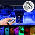 4Pcs 5050 Car Auto LED RGB Interior Floor Decorative Atmosphere Strip Pathway Deco Floor Light Remote Control DC 12V 9SMD 10W