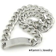 50 cm * 16mm Nueva Gran Tema Pendiente En Blanco Engravble ID de Plata de Acero Inoxidable Collar de la joyería accesorios Regalos Al Por Mayor KN044