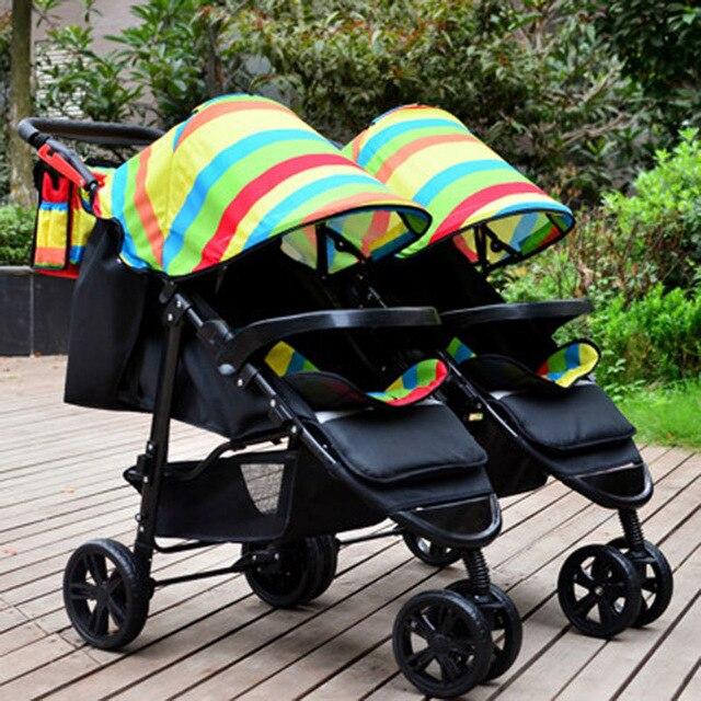 Gratis shippingRainbow Draagbare Opvouwbare Tweeling Kinderwagen Lichtgewicht Pram Twee Baby Dubbele Wandelwagen Winkelwagen Kinderwagen Demonteren 0 ~ 3 Y