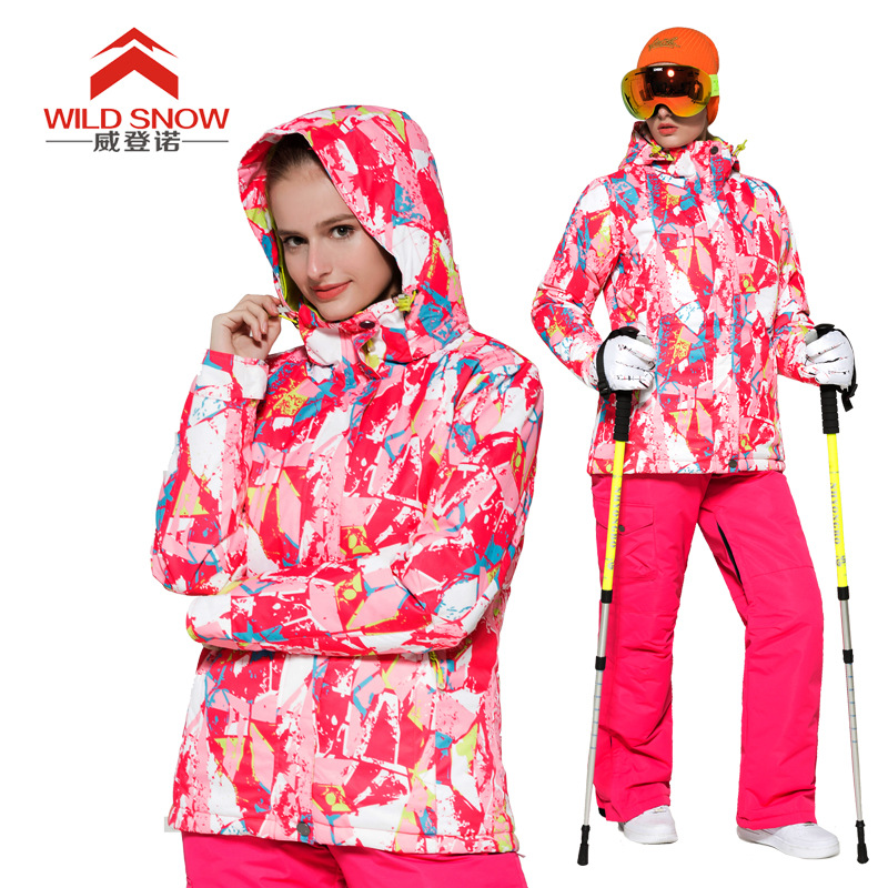 Women Ski Suit Windproof Waterproof Outdoor Sport Wear Female Camping Riding Skiing Warm Geometric Snowboard Ski Jacket +pants outdoor genuine lady pink ski suit camouflage waterproof windproof jacket cotton 1410 018 women wear