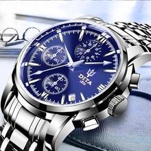2019 водостойкая бабочка хронограф бег часы логотип наручные часы кварцевые Tevise мужские часы