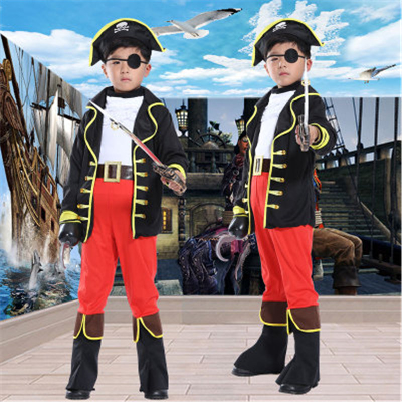 Halloween Costumes COS Makeup Stage Children's Clothing Caribbean Children's Little Pirate Costume