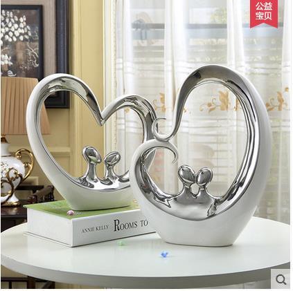 Us 5684 Białe Srebrne Ceramiczne Miłośników Wyroby Do Dekoracji Domu Dekoracja Pokoju Serca I Serca Ozdoba Porcelanowe Figurki Dekoracje ślubne W