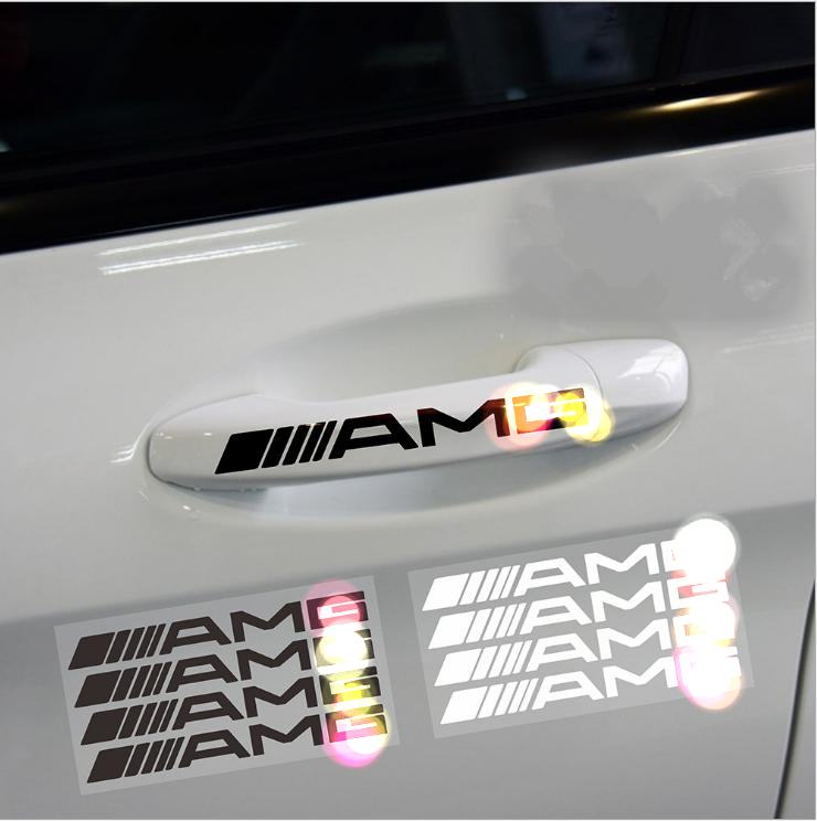4PCS Auto reflective handle sticker Car-Styling For Mercedes-benz GLK W204 W211 W212 AMG GLC ML GL AMG Emblem Trim Accessories car seat cover automobiles accessories for benz mercedes c180 c200 gl x164 ml w164 ml320 w163 w110 w114 w115 w124 t124