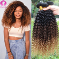 8A Mongolian Kinky Curly Hair Ombre Hair 4 Bundles Deals Kinky Curly Virgin Hair Honey Blonde afro kinky curly hair Wet And Wavy