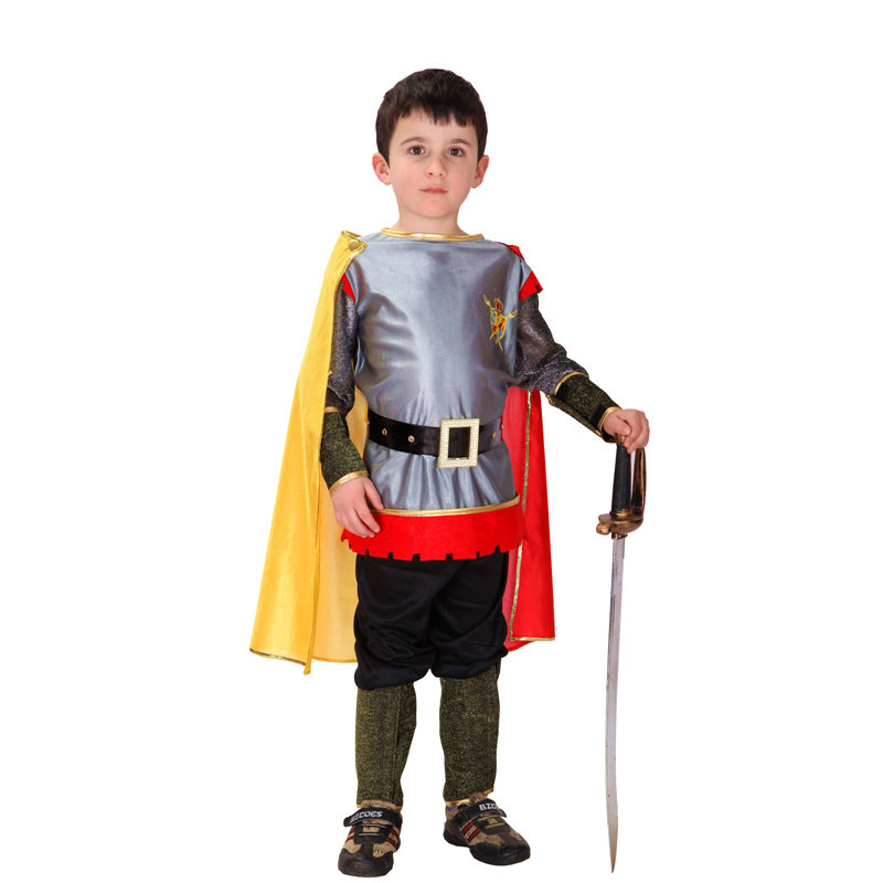 2018 Prince King Kids Costumes Roman Warrior Knight Children Cosplay Hallowean Carnival Party Boy Masquerade Suit