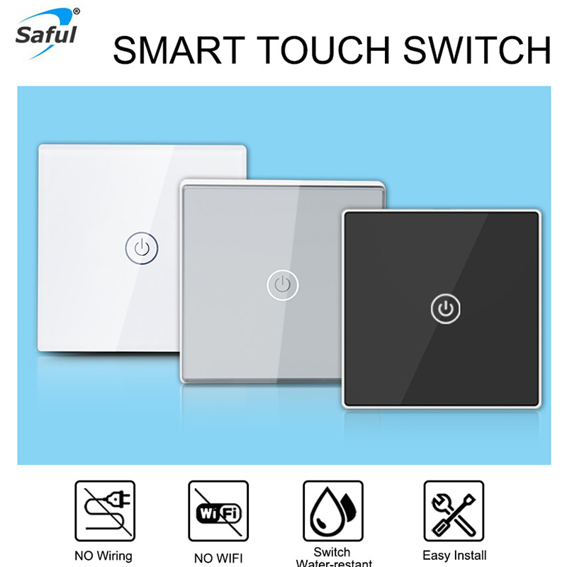 Amazing Saful 1 Gang 1 Way Wireless Switch Waterproof Touch Switch Wall Light Switch Diy Switch For Smart Home Lamp Wiring Digital Resources Arguphilshebarightsorg