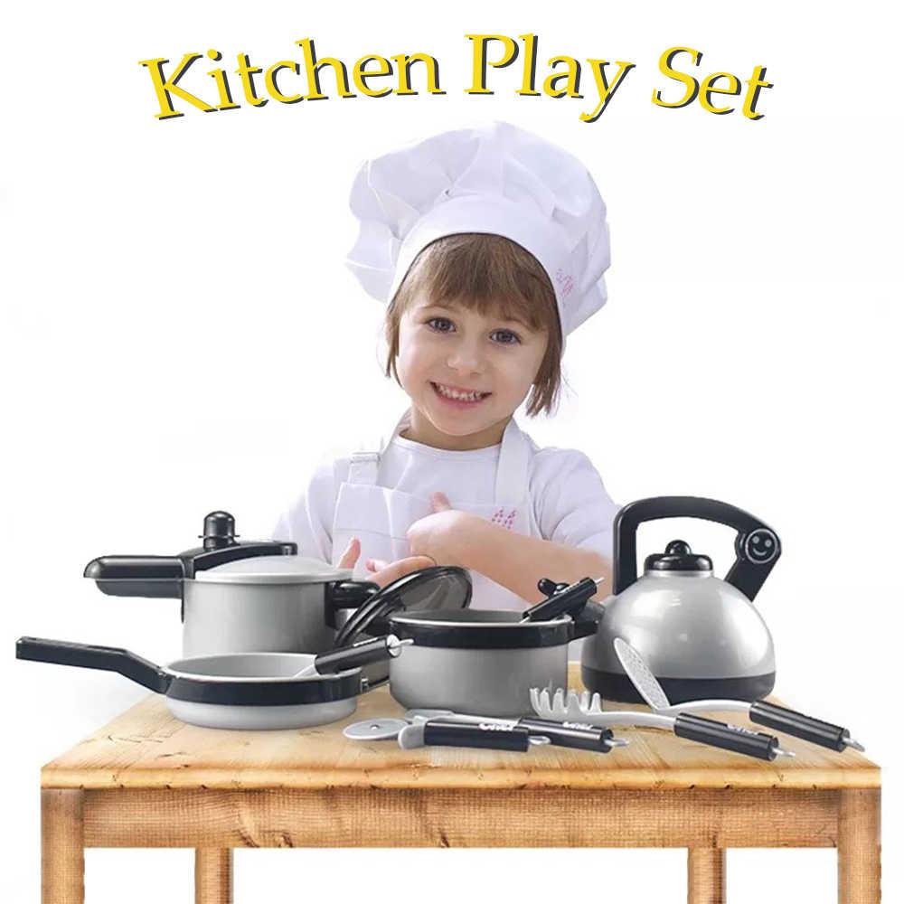 Cozinha crianças Brinquedos para As Crianças Pretend Play Brinquedos Meninas Panelas Panelas Chaleira Utensílios de Cozinha Conjunto de Jogo de Cozinha Em Miniatura Presentes do Alimento Falsificado