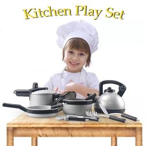 Image 2 - เด็กของเล่นเด็กเล่นของเล่นเครื่องครัวชุด Miniature Kitchen กระทะหม้อกาต้มน้ำ Faked ของขวัญอาหาร