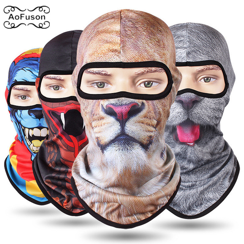 Cycling Full Face Mask 3D CS Caps Motorcycle Scarf Head Sunscreen Animal Hiking Fishing Bike Funny Grimace Mask Breathable UV400