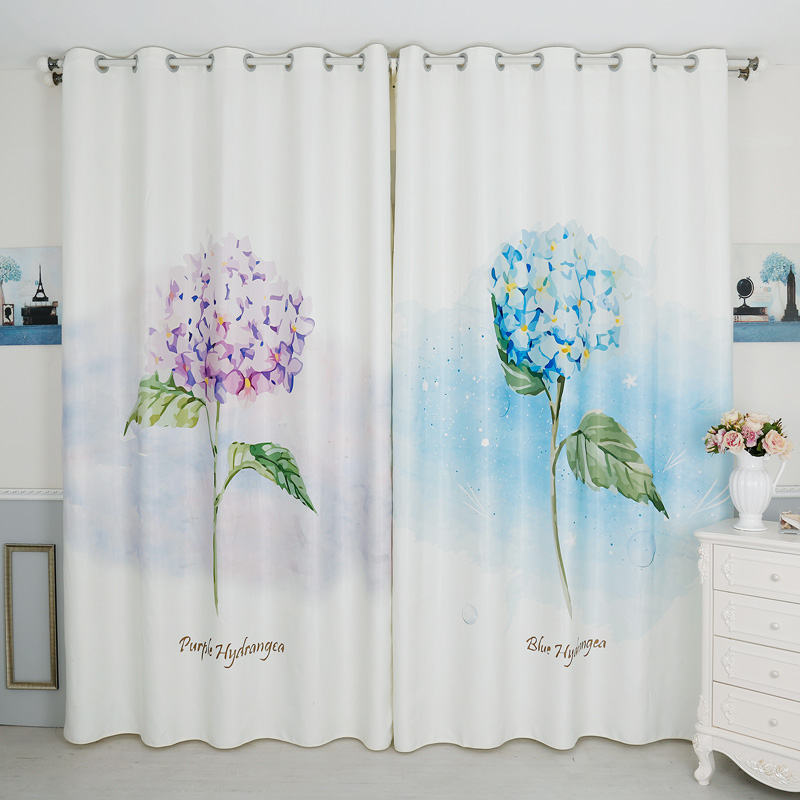 Personal Tailor 2pcs 200x260cm Drapery Panel Window Dressing Drape Wave Curtain Nursery Kids Children Room Blue Purple Floral