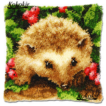 diy rug Hedgehog carpet Handmade Unfinished Embroidery Pillowcase Crocheting Kit Rug Yarn cushion Latch hook rug making kit(China)